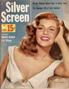 Rita Hayworth cover of Silver Screen magazine, USA, May 1953.