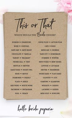 Rustic Bridal Shower Games, This or That Wedding Shower Game, Would She Rather, … – Party Ideas Fun Bridal Shower Games, Bridal Shower Planning, Bridal Games, Bridal Shower Party, Bridal Shower Rustic, Wedding Games, Wedding Planning, Engagement Party Games, Rustic Bridal Shower Invitations