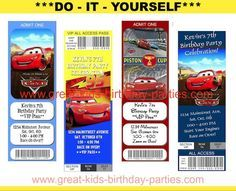 FREE Printable Disney Cars Birthday Party Ticket Invitations - You can do it in minutes!   This site has all the great info you need for an awesome diy cars party. Included are links to party supplies, free printables, food ideas, games, etc.