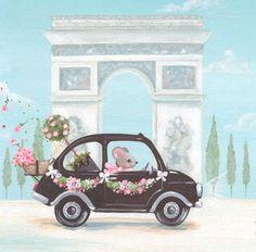 Little Black Car Canvas Art