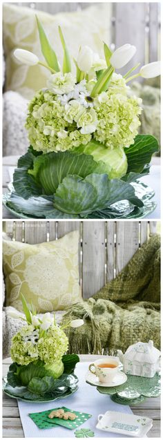 Create a flower arrangement and vase using a cabbage for spring or your St. Patrick's Day celebration! Tutorial includes flower arrangement longevity tips and additional floral inspiration. Green Carnation, White Chrysanthemum, Floral Centerpieces, Floral Arrangements, Flower Arrangement, Easter Centerpiece, Centerpiece Ideas, Easter Decor, Hydrangea Not Blooming