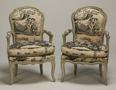 Black and cream French brochure chairs | 48: Pair of French Provincial chairs : Lot 48