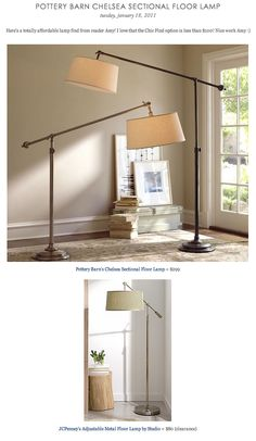 COPY CAT CHIC FIND: Pottery Barn's Chelsea Sectional Floor Lamp VS JCPenney's Adjustable Metal Floor Lamp by Studio