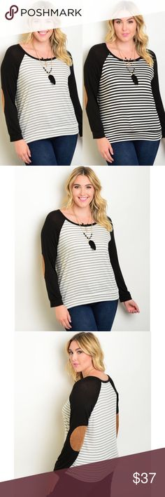 🆕 Plus Size Striped Top Faux suede elbows. 50% polyester 48% rayon 2% spandex. Comment with black or gray when you purchase 😘 Tops