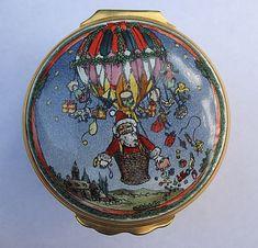 Halcyon Days Enamel Box Trinket Pill Santa Hot Air Balloon Christmas Smithsonian #HalcyonDays