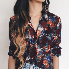 Toby Floral Sheer Cropped Blouse (Burgundy)