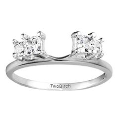 Traditional Three Stone Ring Wrap with 0.38 carats of Cubic Zirconia in Sterling Silver *** Check out this great image @