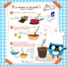 Chocolate mousse recipe - Discover all our recipe workshops for kitchens with children. Easy and educational, free to downloa - Chocolate Mousse Recipe, Chocolate Desserts, Sweet Recipes, Cake Recipes, Dessert Recipes, Cooking With Kids, Easy Cooking, Healthy Toddler Breakfast, Chocolate Fundido