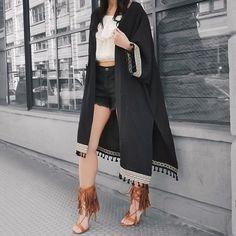 coachella ready! Kimono for $35 // free people black cut off shorts // fringe sandals // instagram picture  to shop: www.liketk.it/2hGOH