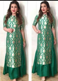 Bollywood Design Indian pakistani long Silk Jamavar Kameez brocade Skirt size L Indian Fashion Dresses, Indian Gowns Dresses, Brocade Dresses, Dress Indian Style, Indian Outfits, Brocade Suits, Indian Wear, Silk Kurti Designs, Salwar Designs