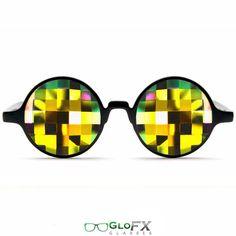 "GloFX Black Kaleidoscope Glasses – Rainbow Bug Eye – Flat Back Rainbow Lenses with "" Bug Eye "" Style Cut Less Intense Effect Light Show"