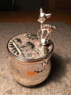 Spardose mit Spieluhr REUGE Sainte Croix Switzerland Silber