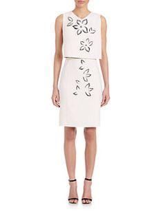 Carolina Herrera - Floral Laser-Cut Trompe L'oeil Dress