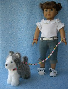 Items similar to American Girl Pet Dog Collar and Leash - Colorful Stripes on Etsy American Dolls, American Girl Clothes, Pet Dogs, Pets, Bitty Baby, Collar And Leash, Girl Dolls, Ava, Doll Clothes