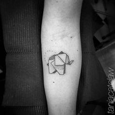 Origami elephant tattoo. Tattoo artist: Tania Catclaw