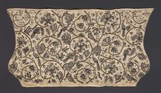 Woman's coif. Design of gold coiling stems with blackwork flowers, birds, worms, butterflies, and snails. Linen; embroidered with silk and metallic threads. Circa 1600.
