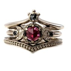 Black Diamond And Garnet Crown and Moon Engagement Ring Set