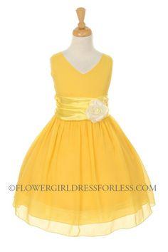 Girls Dress Style 5720 - YELLOW- Crepe Dress with Charmeuse Waist Sash $49.99