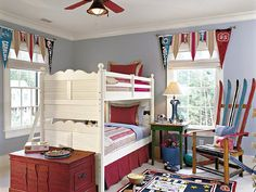 Pennant curtains, various sizes, use bold striped and solids in red, blue, gray