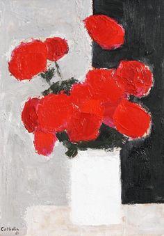 """""""Bouquet de Roses Rouge a la Bande Noire"""", oil on canvas, 37.25"""" x 30.25"""" by Bernard Cathelin."""