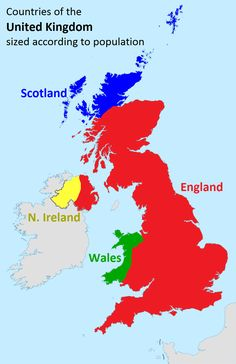 Post with 0 votes and 581 views. [Map] Countries of the United Kingdom sized according to population Historical Maps, Compare And Contrast, British History, History Facts, British Isles, In This World, United Kingdom, Britain, Fun Facts