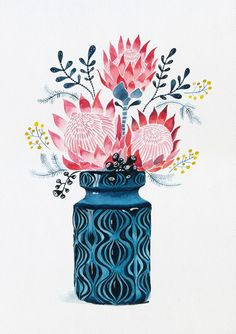 Pink Proteas in West German Onion Vase Ed. 21 of 25 by Sally Browne (CreativeWork) Pink Proteas in W Art And Illustration, Botanical Illustration, Illustrations, Protea Art, Protea Flower, Flower Vases, Watercolor Flowers, Watercolor Paintings, Watercolour