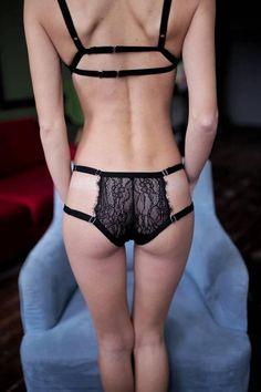 33be886e5b8 Items similar to Strappy panties. Black sheer panties