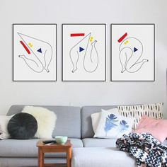 3 Piece Modern Minimalist Dancer Canvas A4 Art Print Poster Abstract Shape Wall Picture Living Room Home Decor Painting No Frame