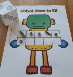 Robot Race to 10 or A ten frame counting game for your little learners Numbers Kindergarten, Preschool Learning, Preschool Activities, Kindergarten Games, Space Activities, Teaching, Counting Activities, Math Games, Maths Eyfs