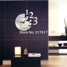 YC018-3 Diy Wall, Wall Decor, Mirror Wall Clock, Acrylic Mirror, Home Kitchens, Modern, Room, 3d, Home Decor