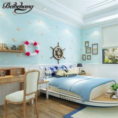 33.00$  Buy here - http://alitd1.shopchina.info/go.php?t=32679109241 - beibehang High - grade children Mediterranean wind shell non - woven wallpaper boy girl bedroom room wallpaper papel de parede  #magazine