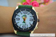 2014 Newest Fashion Quartz Men Wristwatches Soccer World Cup Sports Fabric Band #Handmade #Fashion