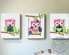 canvas prints for baby room. green and purple owl nursery girl room decor - owl canvas art, baby set, woodland art , print for prints