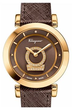 Salvatore+Ferragamo+'Minuetto'+Calfskin+Leather+Strap+Watch,+37mm+available+at+#Nordstrom