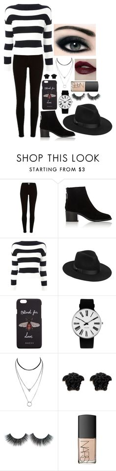 """""""Strike them dead"""" by dark-jewel ❤ liked on Polyvore featuring River Island, rag & bone, Boutique Moschino, Lack of Color, Gucci, Rosendahl, Versace, NARS Cosmetics and Max Factor"""