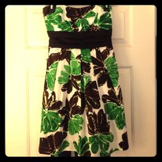 Brown and Green Flowered Strapless Dress size 11 Adorable green and Brown strapless dress with white background. Had a zippered back and ribbon tie, and has extra breast padding, but not a bra. Size 11 but fits more like a 9. $20, OBO Speechless Dresses Strapless
