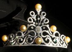 18k white gold, golden south sea pearl and diamond tiara