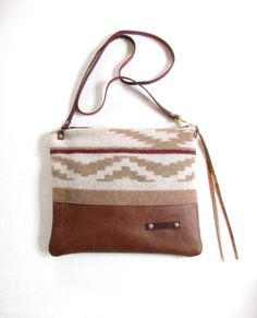 Navajo design Woven Wool Cross Body bag /  wool and leather by LokaStudio
