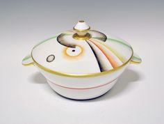 Bowl with lid by Nora Gulbrandsen for Porsgrund Porselen. Machine Age, Gio Ponti, Norway, Art Deco, Designers, Porcelain, Ceramics, Dishes, Glass