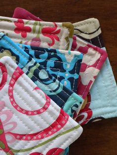 quilted coasters - good idea for layering and turning inside out on a quilt