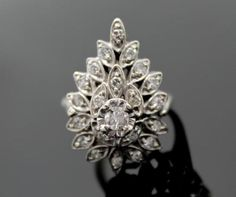Vintage 1940s/50s Retro Diamond 14K White Gold Mid Century Modern Cluster Ring in Jewelry & Watches, Vintage & Antique Jewelry, Fine, Retro, Vintage 1930s-1980s, Rings | eBay