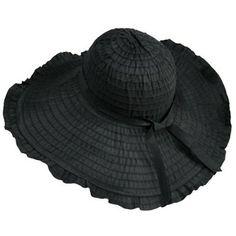 Amazon.com: Black Ruffled Wide Wired Brim Floppy Sun Hat: Clothing