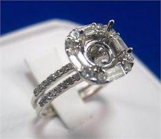 14kt Cushion Shaped Baguette Diamond Halo Engagement Ring Setting