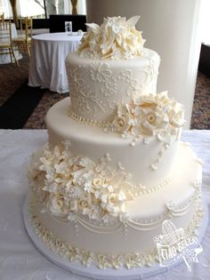 Formal Romantic Vintage Flowers Wedding Cake Wedding Cakes Photos & Pictures - WeddingWire.com
