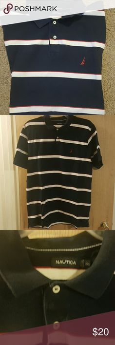 Mens-Nautica Polo-Rugby Red , white and blue short sleeve Polo-Rugby. Fair condition Nautica Shirts Polos