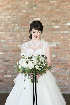 Black Tie New Years Eve Wedding anemone bouquet Alicia King Photography  | Reverie Gallery Wedding Blog