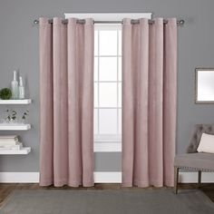 Exclusive Home Curtains Velvet Heavyweight Grommet Top Window Curtain Panel Pair, Blush, Home Curtains, Grommet Curtains, Blackout Curtains, Window Curtains, Curtain Panels, Curtains 2018, Patterned Curtains, French Curtains, Brown Curtains