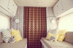 {pattern & neutrals} love this vintage RV makeover. the pillows are fab!