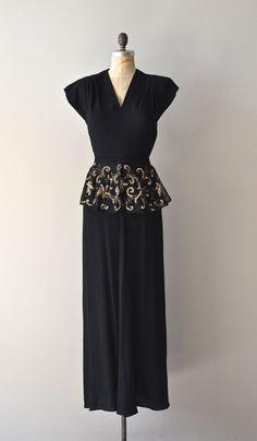 Millionaire's Club dress / vintage 30s dress / black by DearGolden