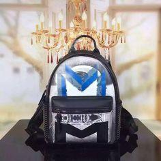 MCM Small Moonwalker Backpack In Blue